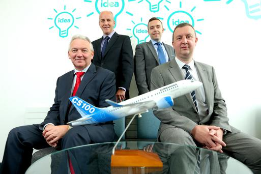 From back left, Dr Leslie Orr of aerospace, defence and security trade body ADS and Dr Scott King, general manager at NIACE, are joined by Jim Knowles and John Irwin from Denroy