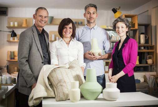 Alan Kane from Craft NI, designers Jude Cassidy and Derek Wilson with Suzanne Lyle from the Arts Council of Northern Ireland