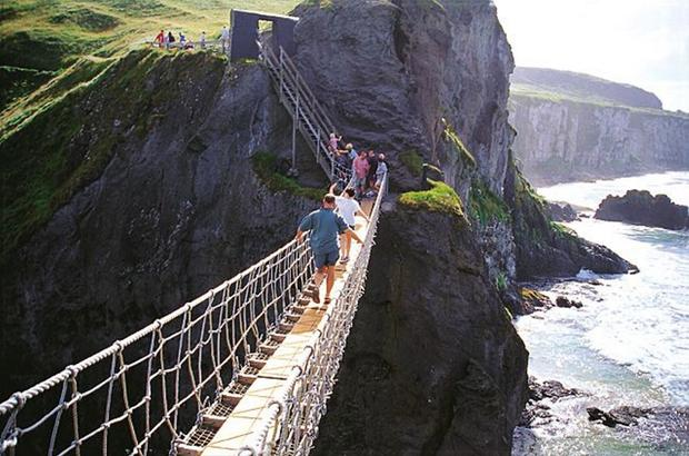 The Carrick-a-Rede rope bridge near Ballintoy