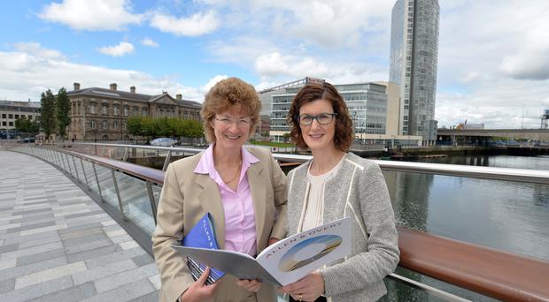 Dr Grainne McKeever, director of Ulster University's Law Clinic, and Jane Townsend, partner and head of Allen & Overy's Legal Services Centre in Belfast, at the launch of a new scholarship that will improve access to justice in Northern Ireland