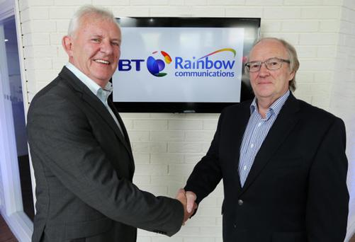 Frank McManus, head of wholesale sales and services at BT Ireland, joins Eric Carson from Rainbow Communications to mark the companies' new multi-million pound collaboration