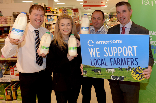 Gavin Emerson of Emerson's with Kerry Hughes and Jude McCann from Rural Support and Ian Marshall (right), president of Ulster Farmers' Union