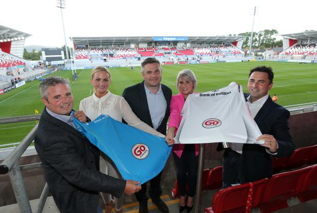 Go Power celebrates the first time its new logo has featured on Ulster Rugby's jersey at the Kingspan Stadium. From left: Michael Loughran, Shauna Forbes, Dermot Beattie, Laura Loughran and Daniel Loughran