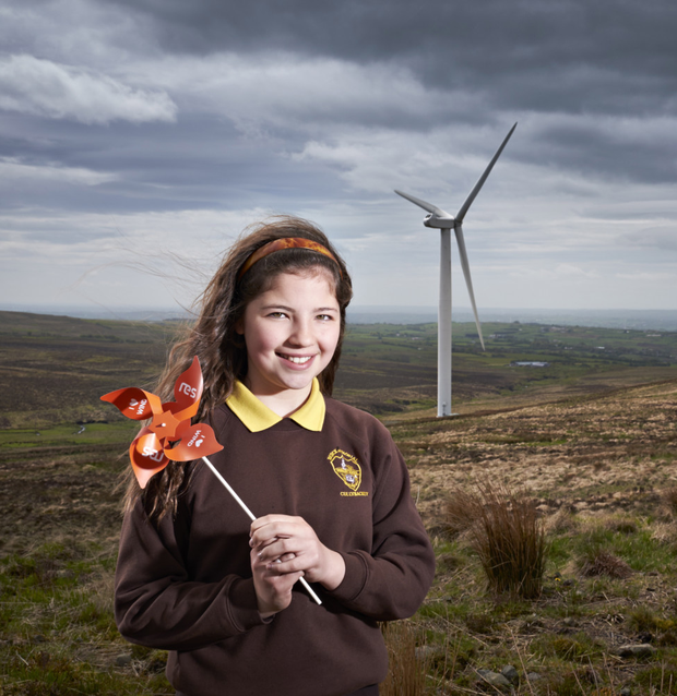 Chloe Robinson from Buick Memorial Primary School, Cullybackey, at an RES wind farm in Co Antrim
