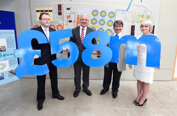From left: Ronan Larkin of NI Water, Regional Development Minister Danny Kennedy and Go Power MD Michael Loughran with Laura Loughran of Go Power