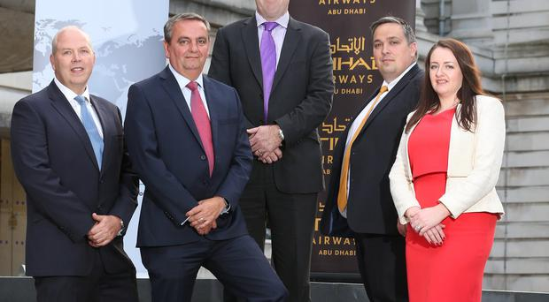 The latest Danske Bank Export First event was attended by (from left) Stephen McCully of NI Chamber, Mark Godfrey and Simon Cole from Automated Intelligence, Aaron Ennis from Danske Bank and Sandra Scannell from NI Chamber