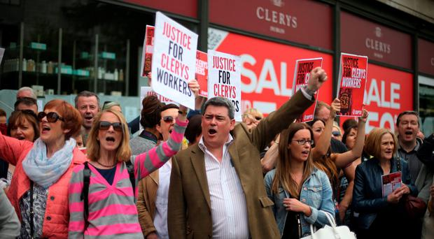 Staff protest at the closure of Clerys in June