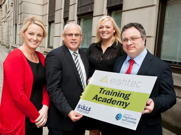 Employment and Learning Minister Dr Stephen Farry today launched the second Eishtec Training Academy. Pictured at the launch are (left to right): Catherine Jones, Southern Regional College, Colm Tracey, Eishtec, Louise Bone, Eishtec and Minister Farry