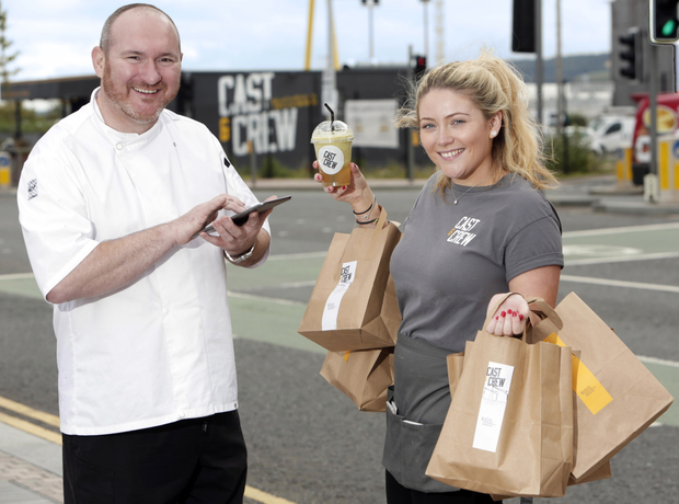 Chef Niall McKenna with Courtney Keane as they launch a new app for pre-ordering food at Cast & Crew