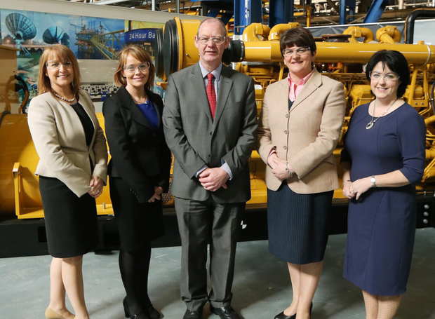 Former Enterprise Minister Arlene Foster visited Caterpillar with other businesspeople this year. She was joined by (from left) Ann McGregor, Catriona Toner, Robert Kennedy from Caterpillar and Brenda Morgan from British Airways