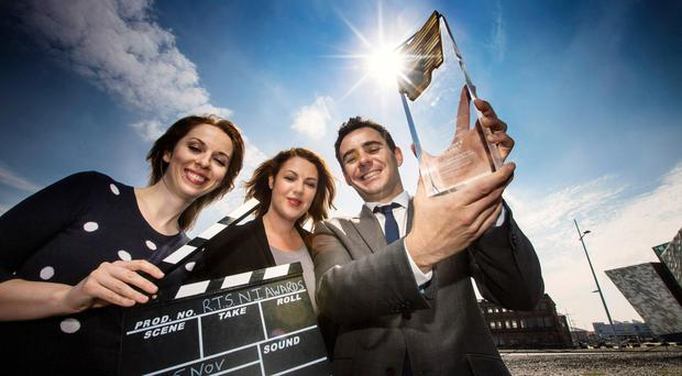 Sarah McCaffrey, Julie Gardner and Kieran Doherty at the launch of the first regional RTS Programme Awards for Northern Ireland