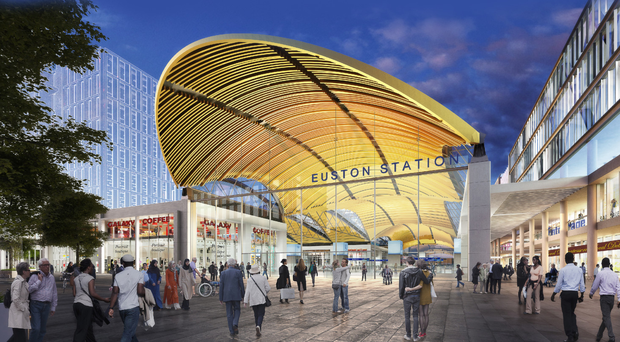 An artist's impression of the proposed HS2 station at Euston, London. Below, Beth West speaks at the Invest NI HS2 Supplier Briefing yesterday