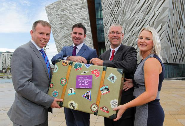 Colin Mounstephen, Deloitte; Andrew Cowan, NI Connections; Richard Donnan, Ulster Bank and Connla McCann, director of Aisling Events, launch the Belfast Homecoming Conference 2015
