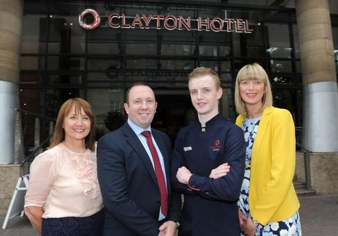 At the launch of the Clayton Hotel Belfast are (from left) Ann McGregor, CEO of Northern Ireland Chamber of Commerce and Industry, Stephen Redden, general manager of the Clayton Hotel, employee Louis Thompson and Lindsey Hall, partnership manager for Visit Belfast