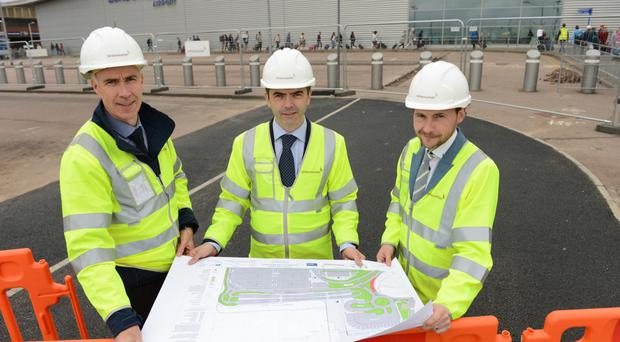 From left, Whitemountain Quarries' operations manager John Hasson, commercial manager John Donaghy, and Gareth McNern, project manager at Luton Airport
