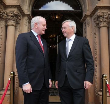 Deputy First Minister Martin McGuinness and CBI Northern Ireland chairman Colin Walsh before the CBI Annual Lunch in the Culloden Hotel yesterday