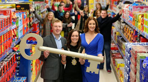 Lidl unveiling its first Belfast city centre store last year. At the opening were (from left) sales operations executive Paul Gibson, the then Lord Mayor Nichola Mallon and actress Bronagh Waugh