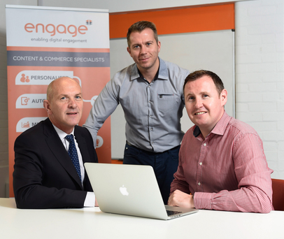 Belfast based digital agency, Engage is creating 13 new jobs as part of a plan to increase sales in export markets. (From left) is George McKinney, Invest NI, Stephen Leathem and Steven Cassin, Engage.