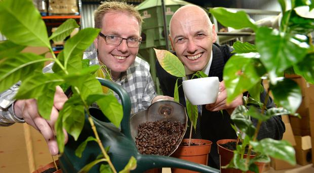 Horticulturist David Pattison and Johnsons Coffee sales director Philip Mills, who worked together on the project