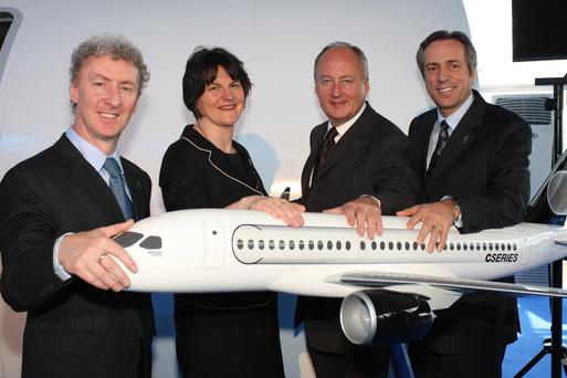 From left, Bombardier's Michael Ryan, Trade Minister Arlene Foster, Secretary of State Shaun Woodward and Bombardier chief operating officer Guy Hachey at the launch of the CSeries in 2008