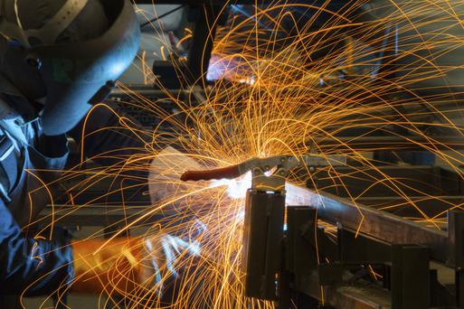 The economy is yet to spark into life says a survey of business leaders. Manufacturing (pictured) and services sectors are both pessimistic