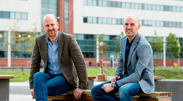 Facebook's Andrew Weld-Moore and Google's Ryan Owens at Belfast's Digital DNA last week, where the dress code was typical of tech events