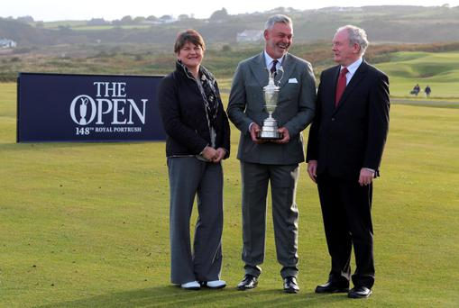 Darren Clarke with Acting First Minister Arlene Foster and Deputy First Minister Martin McGuinness