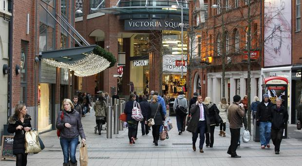 Shoppers at Victoria Square, Belfast