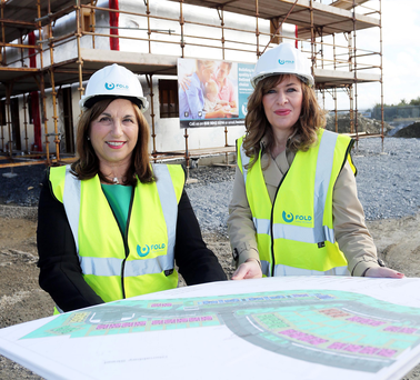 Diana Fitzsimons, Fold Housing Association, and Professor Deirdre Heenan, Ulster University, at Skeoge
