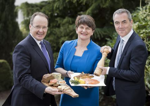 Tourism NI's Howard Hastings, Finance Minister Arlene Foster and actor James Nesbitt launched the NI Year of Food 2016