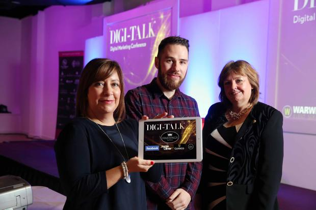 Prof Julie Hastings from Hastings Hotels with two of the guest speakers at the Digi-Talk event in Belfast yesterday, Lisa Fitzsimons from Guinness Europe and Steve Cardwell from the Jamie Oliver Group