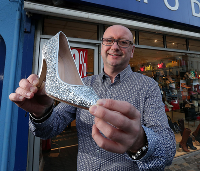Shoe retailer Gavin Dunlop at his shop in Newtownards
