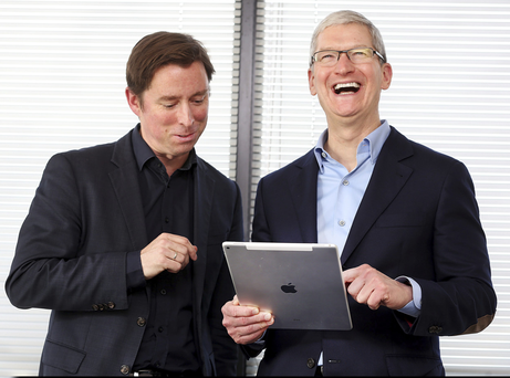 Apple's chief executive Tim Cook (right), with Adrian Weckler, denies the death of computers such as the Mac is imminent