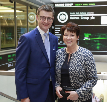 Kainos boss Brendan Mooney and wife Eileen as the firm launched on the London Stock Exchange