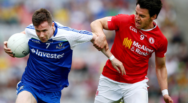 Tyrone take on Monaghan at Croke Park in Dublin earlier this year, wearing O'Neill's jerseys