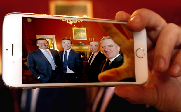 Selfie: From left, founders Matthew and Robin Brown with Scott Ritchie, now chief executive of Connect Telecom Holdings Group, and Ian Beatty of Danske Bank
