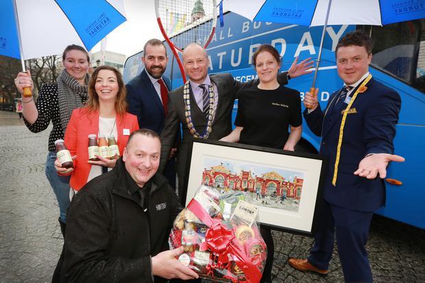 Belfast independent traders joined Hugh Black, president of Belfast Chamber of Trade and Commerce, to launch Small Business Saturday
