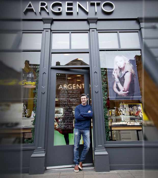 Argento chief executive Peter Boyle outside a store in Belfast