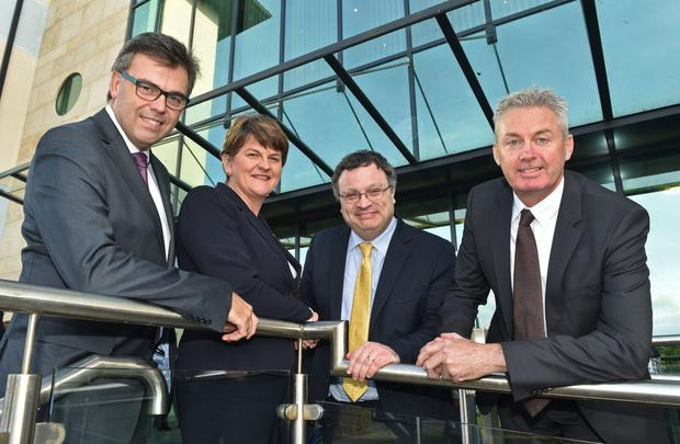 Finance Minister Arlene Foster and Employment and Learning Minister Dr Stephen Farry with Alistair Niederer (right), CEO for Teleperformance UK, and Invest NI CEO Alastair Hamilton