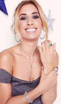 Glitzy: Stacey Solomon wears jewellery from Warren James