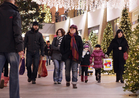 Christmas shoppers at Victoria Square in Belfast