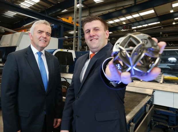 Enterprise, Trade and Investment Minister Jonathan Bell with Mark Hutchinson yesterday after announcing Hutchinson Group's plans to create 80 new jobs