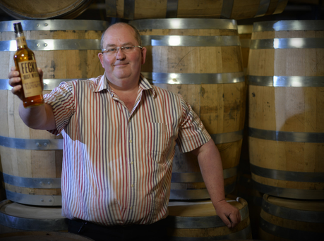 Echlinville founder Shane Braniff with his 'Feckin Irish Whiskey'