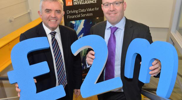Enterprise Minister Jonathan Bell (left) with Simon Cole from Automated Intelligence