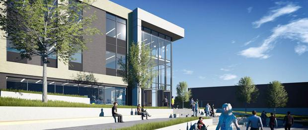 An artist's impression of the STEM building currently under construction at Loughborough University