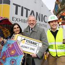 Tim Husbands (centre), Titanic Exhibition Centre chief executive, joins Nisha Tandon from Festival of Colours and Brian Corry from Self Build Ireland to launch a series of 15 events secured for the Belfast venue
