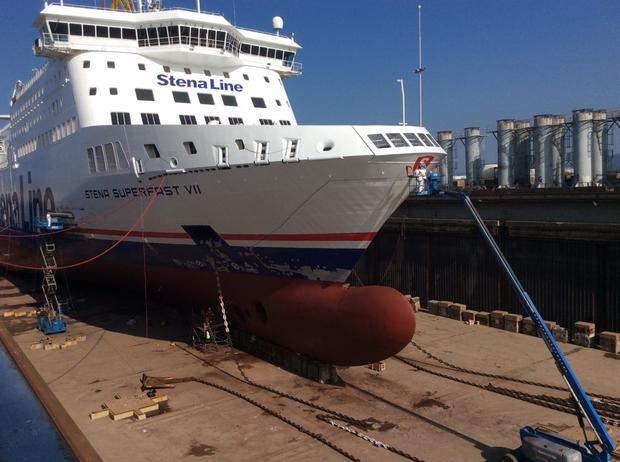 The Stena Superfast VII, one of seven ferries which will visit Harland and Wolff shipyard as part of a £5m refit contract