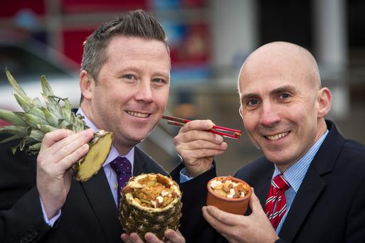 Steven Murphy, buyer at Tesco NI, with Tim McVicker, commercial director of Kestrel Foods
