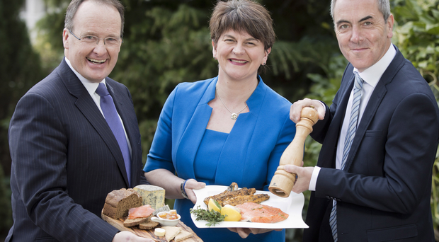 Tourism NI's Howard Hastings, First Minister Arlene Foster and James Nesbitt launch the NI Year of Food 2016
