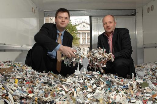 Philip Bain (left) and James Carson set up the Belfast-based company ShredBank at the start of the recession